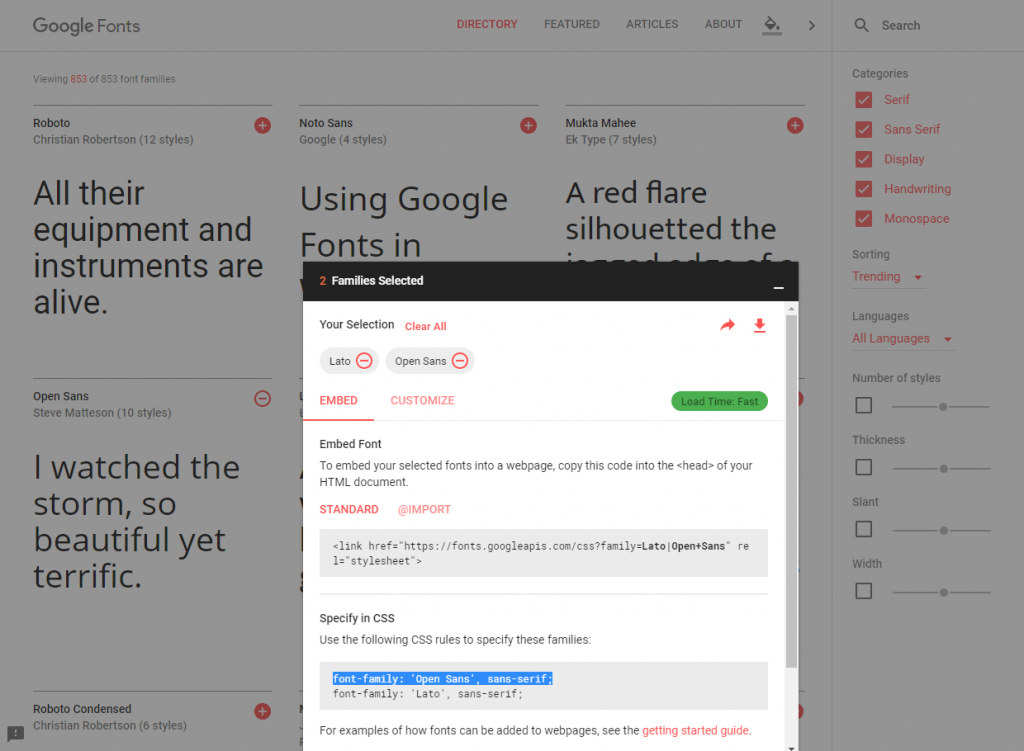 Select & add Google fonts